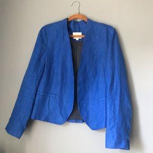 Loft Blue Open Front Linen Blazer, Size 12
